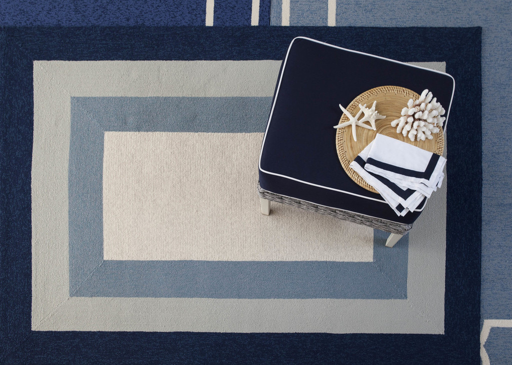 Hamptons Highview Border Rug by Libby Langdon - Navy Blue overhead image