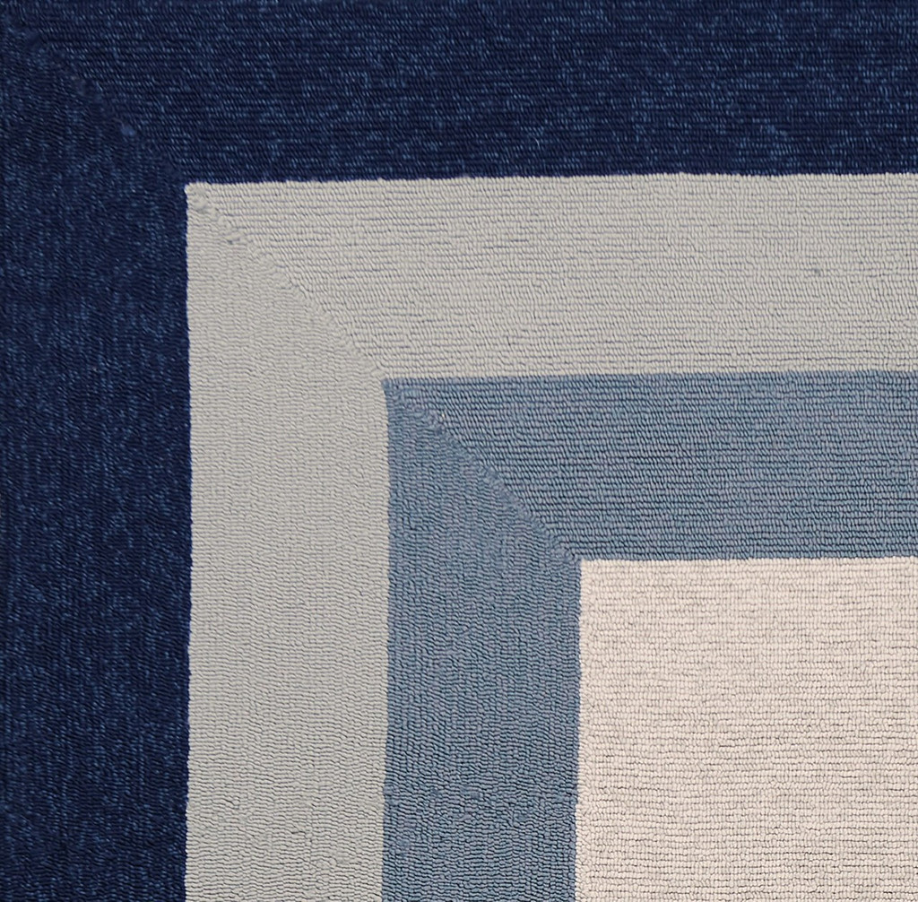 Hamptons Highview Navy Blue Border Rug close up 2