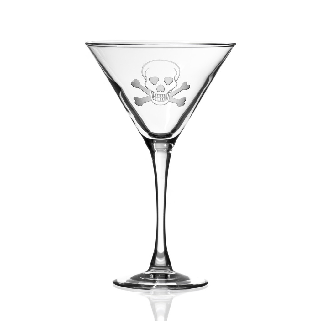Skull and Cross Bones Martini Glasses - single image