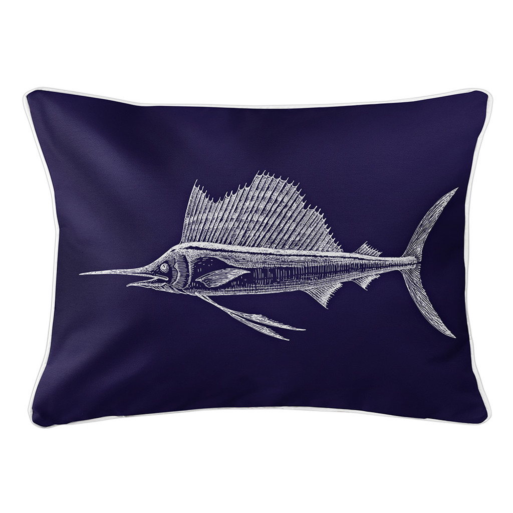 Navy Sailfish Lumbar Coastal Pillow