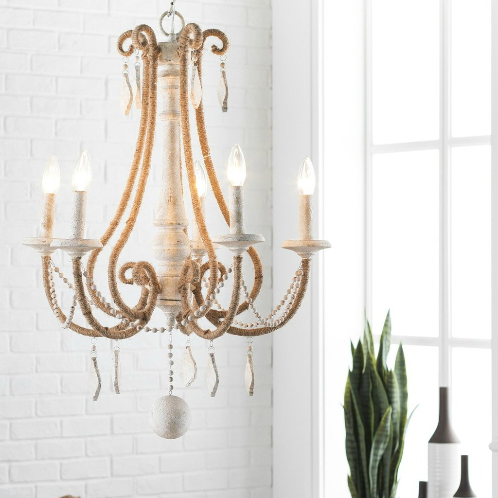 By the Sea Rope Wrapped Chandelier room view