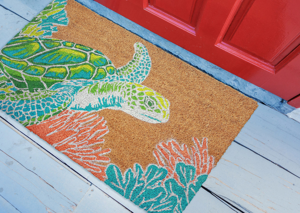 Bright Sea Turtle Natura Door Mat