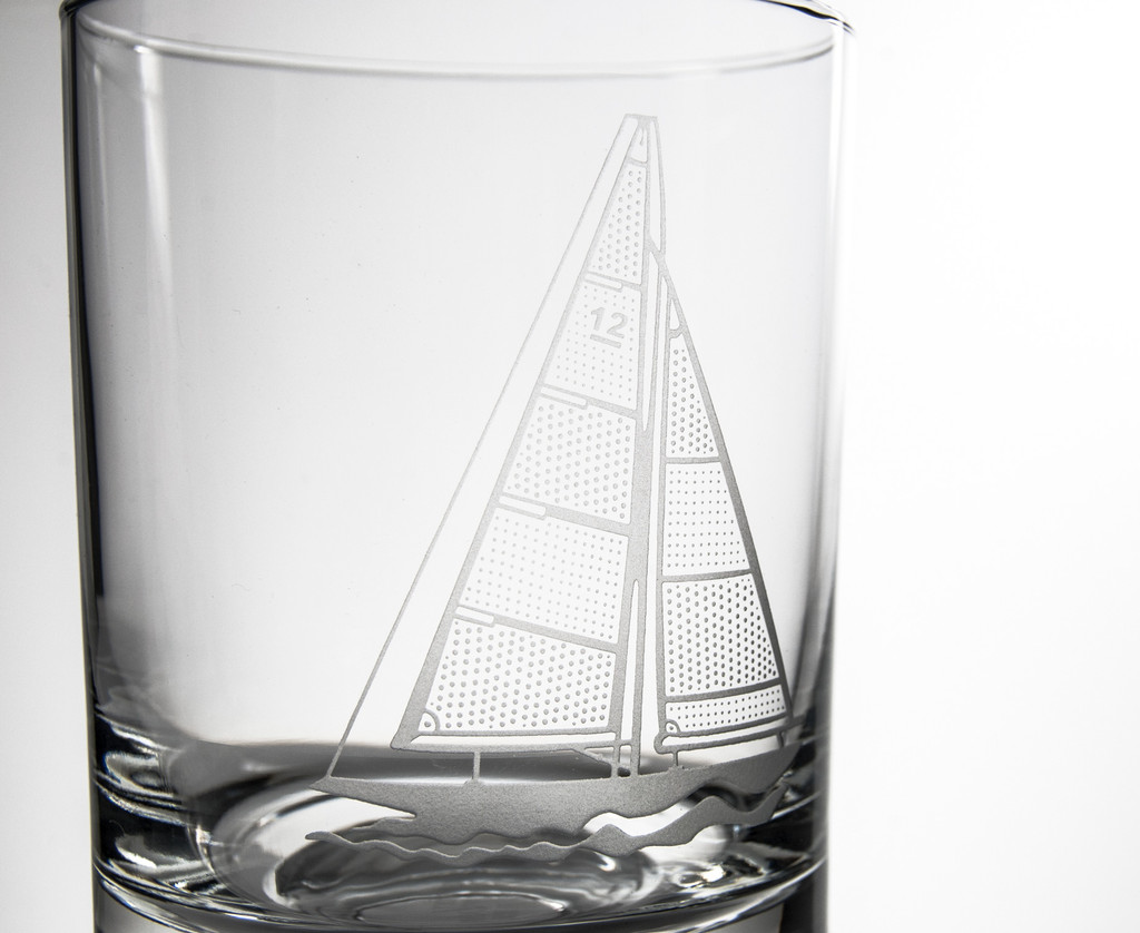 Sailboat Double Old Fashioned Glasses - Set of 4 close up details