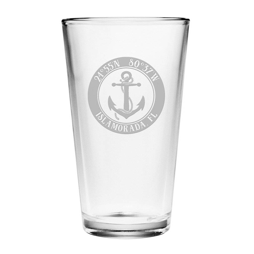 Custom Coordinates Anchor Pint Glasses Set of 4