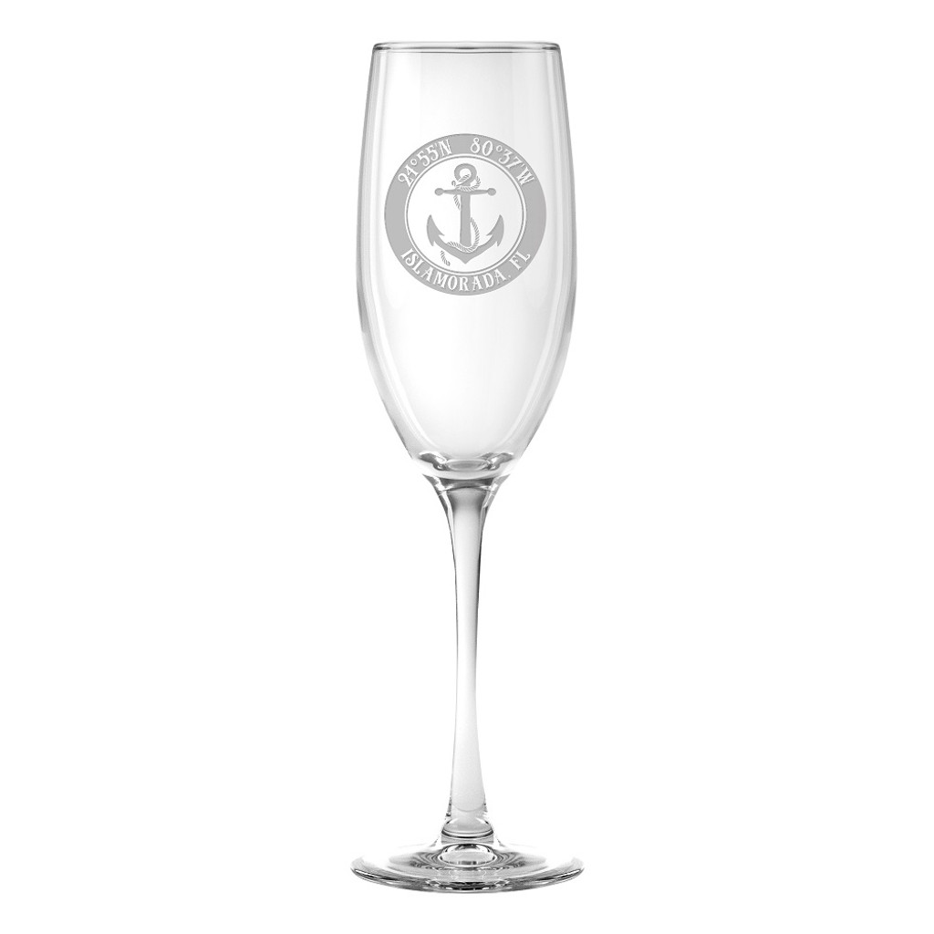 Custom Coordinates Anchor Flute Glasses Set of 4