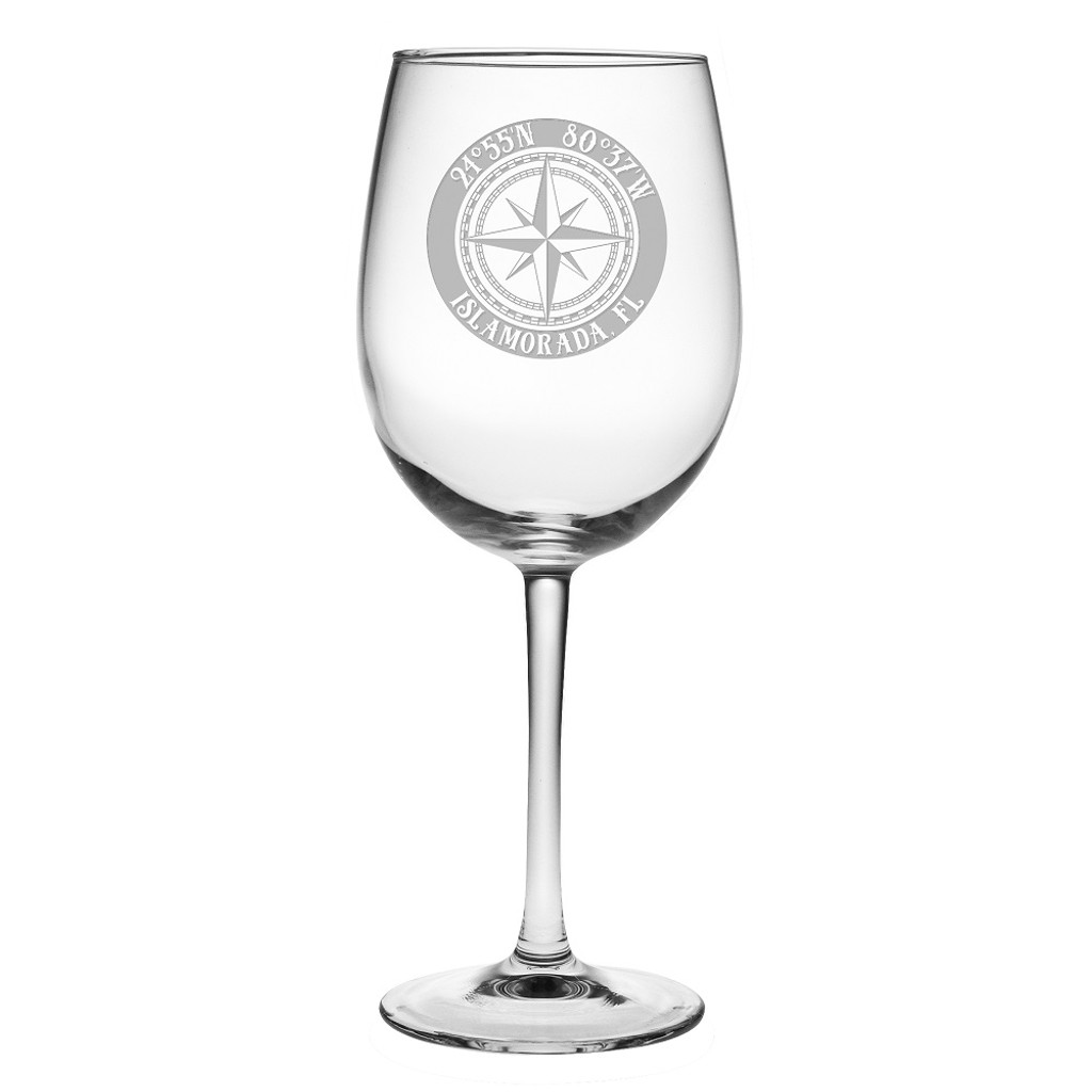 Custom Coordinates Compass Rose Large Wine Glasses Set of 4