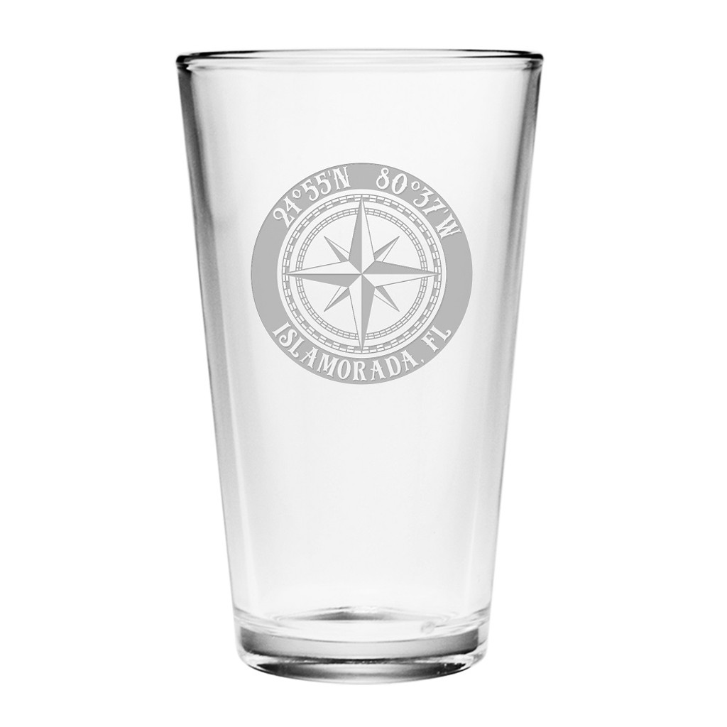 Custom Coordinates Compass Rose Pint Glasses Set of 4