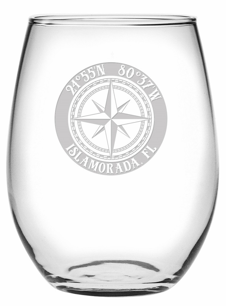 Custom Coordinates Compass Rose Stemless Wine Glasses Set of 4