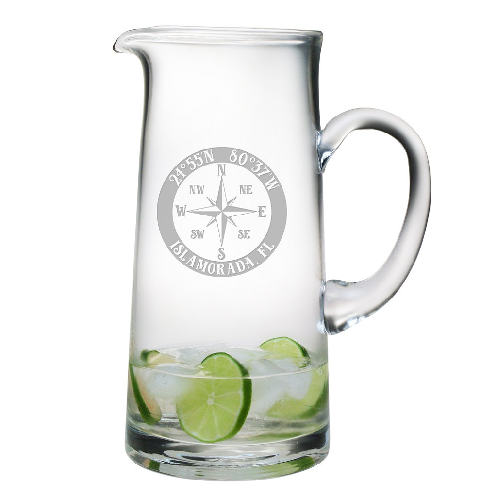 Custom Coordinates Compass Rose NSEW Large Pitcher