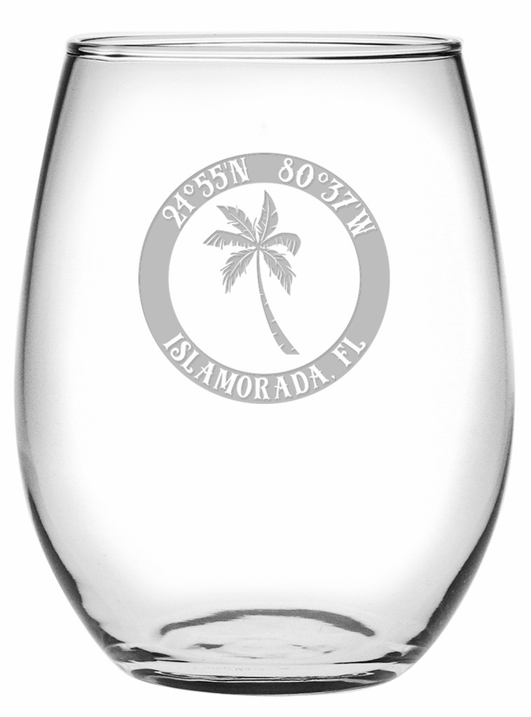 Custom Coordinates Island Palm Stemless Wine Glasses Set of 4