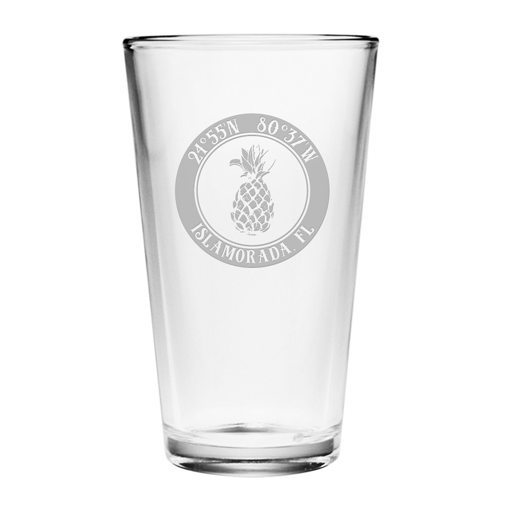 Custom Coordinates Pineapple Pint Glasses Set of 4