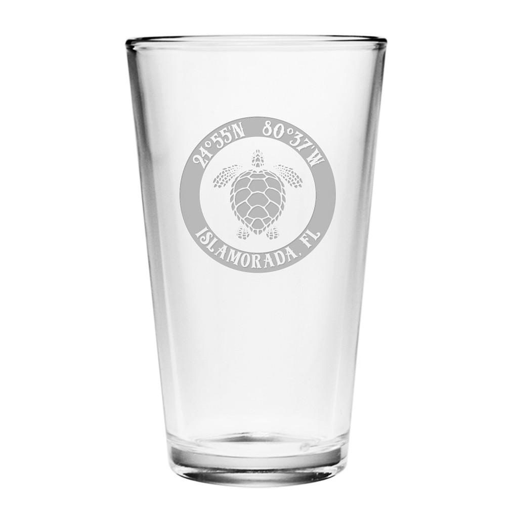 Custom Coordinates Sea Turtle Pint Glasses Set of 4