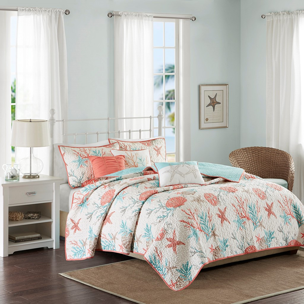 Pebble Beach Quilted Coverlet Queen Size Set