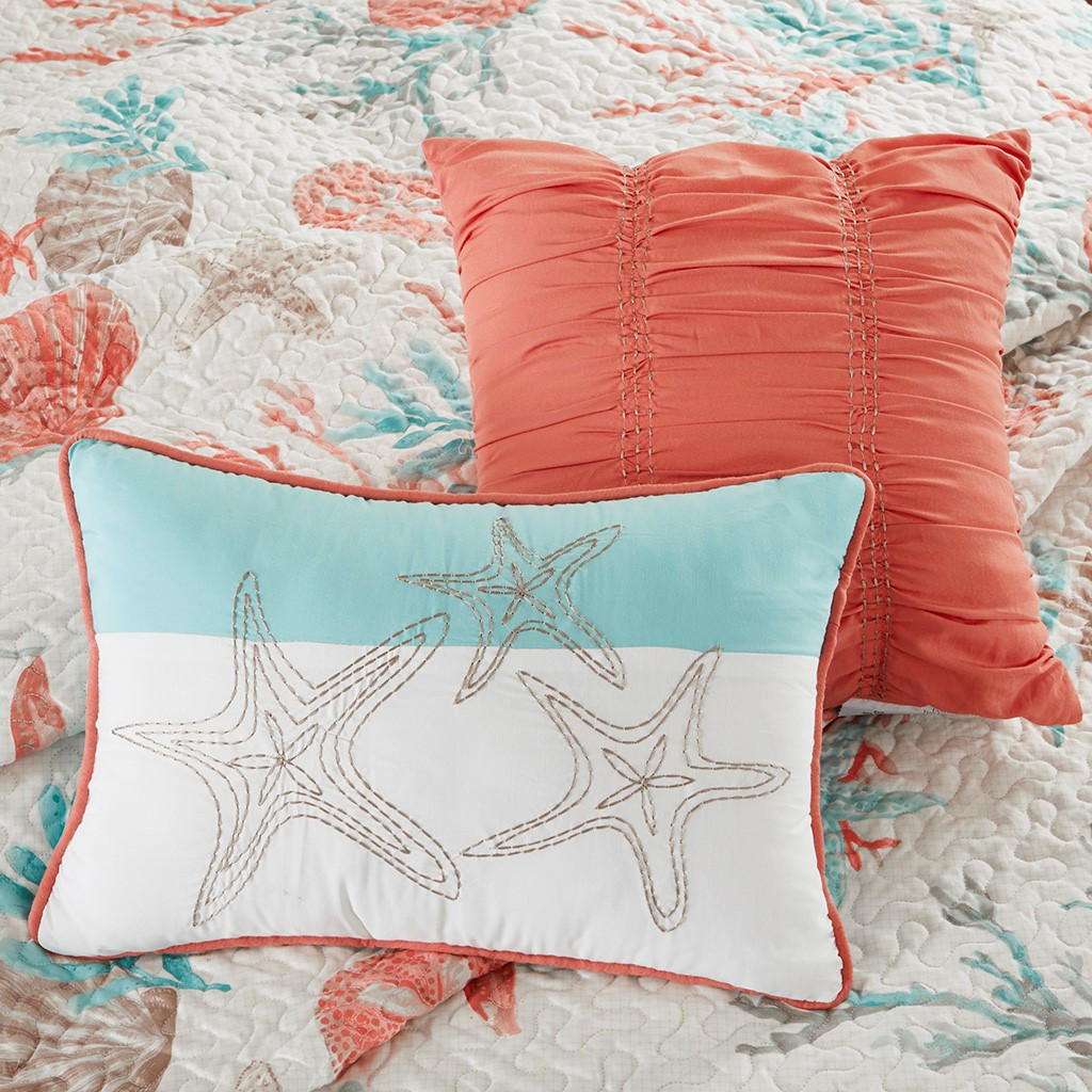 Pebble Beach Quilted Coverlet Queen Size Set decorative pillows 1