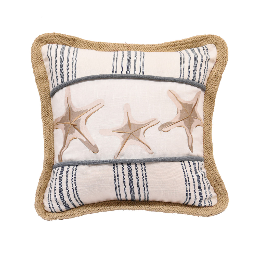 Starfish Navy Blue Striped Cottage Pillow