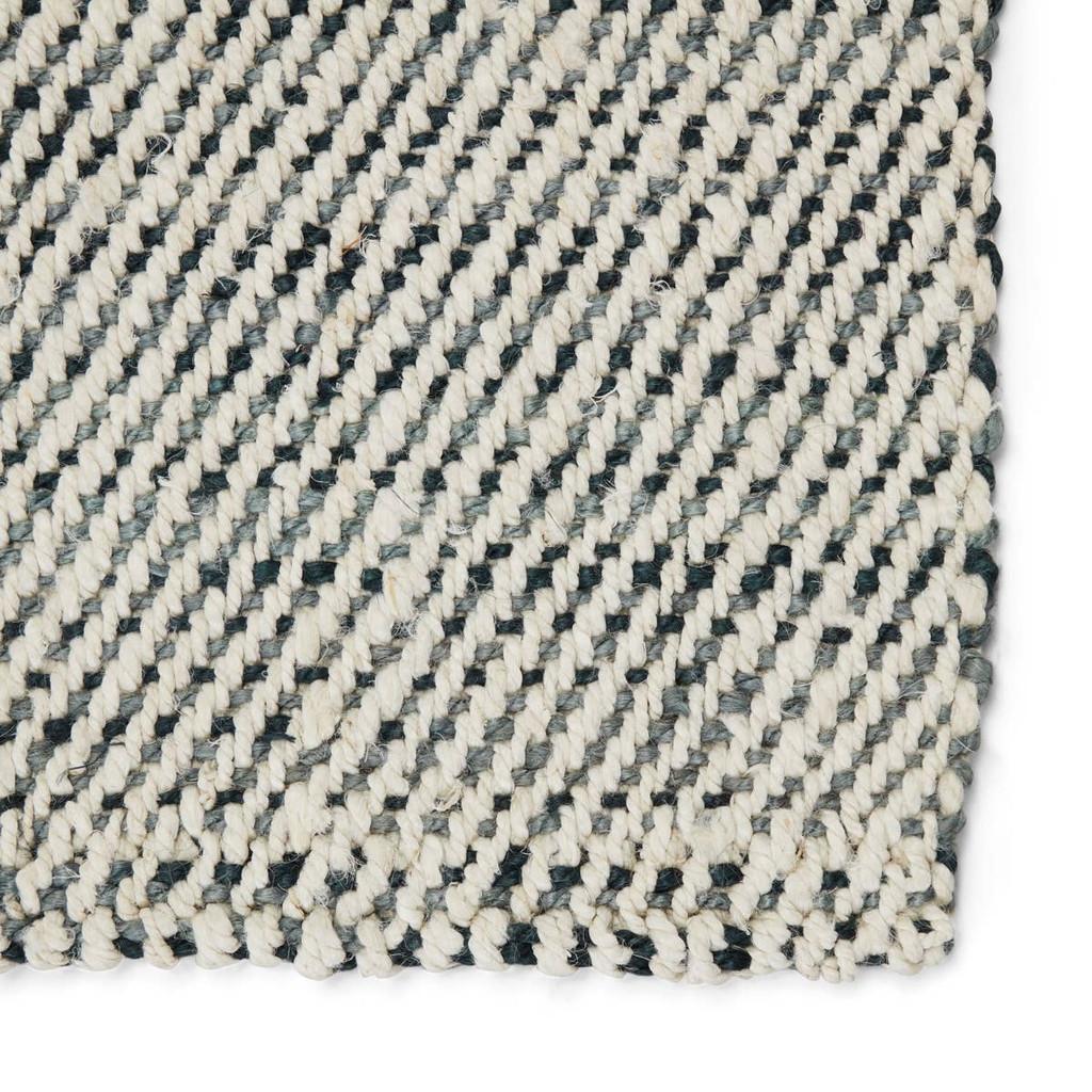Slate Blue Woven Natural Tobago Jute Rug corner close up