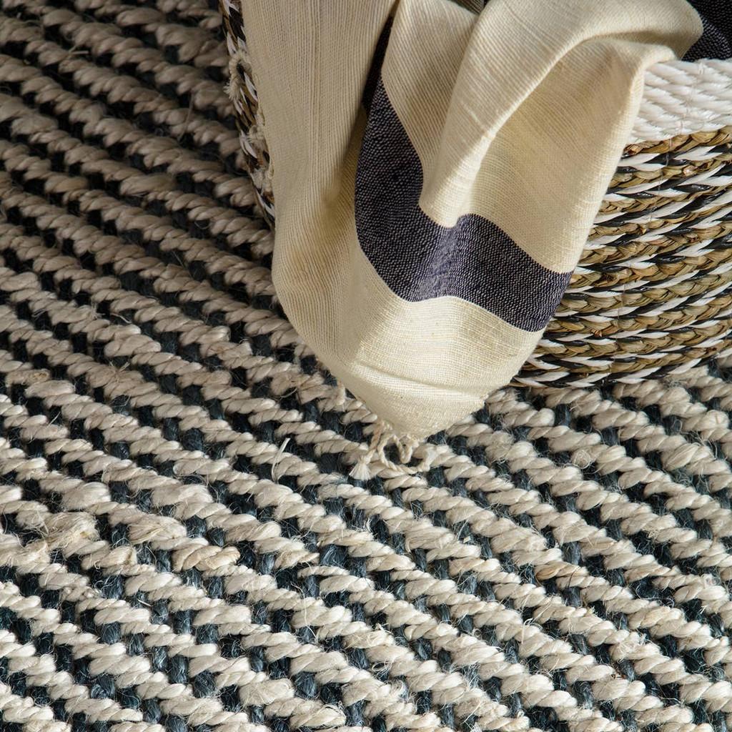 Slate Blue Woven Natural Tobago Jute Rug close up
