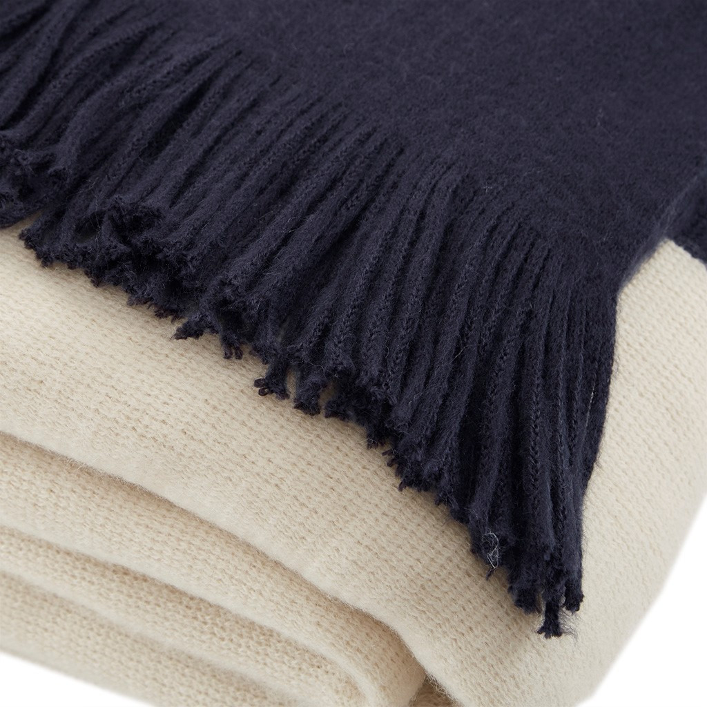 Navy Blue Color Block Fringed Throw