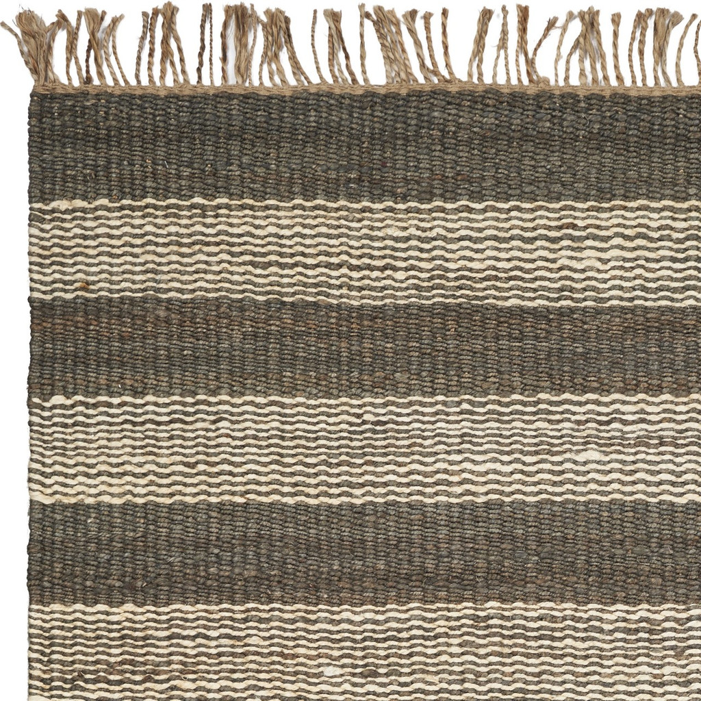 Hang Ten Slate and Ivory Stripe Horizons Rug close up 2