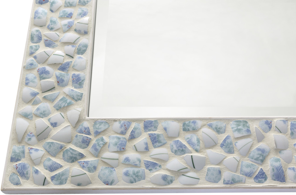 Large Inlaid Blue Sea Shell Framed Mirror corner detail