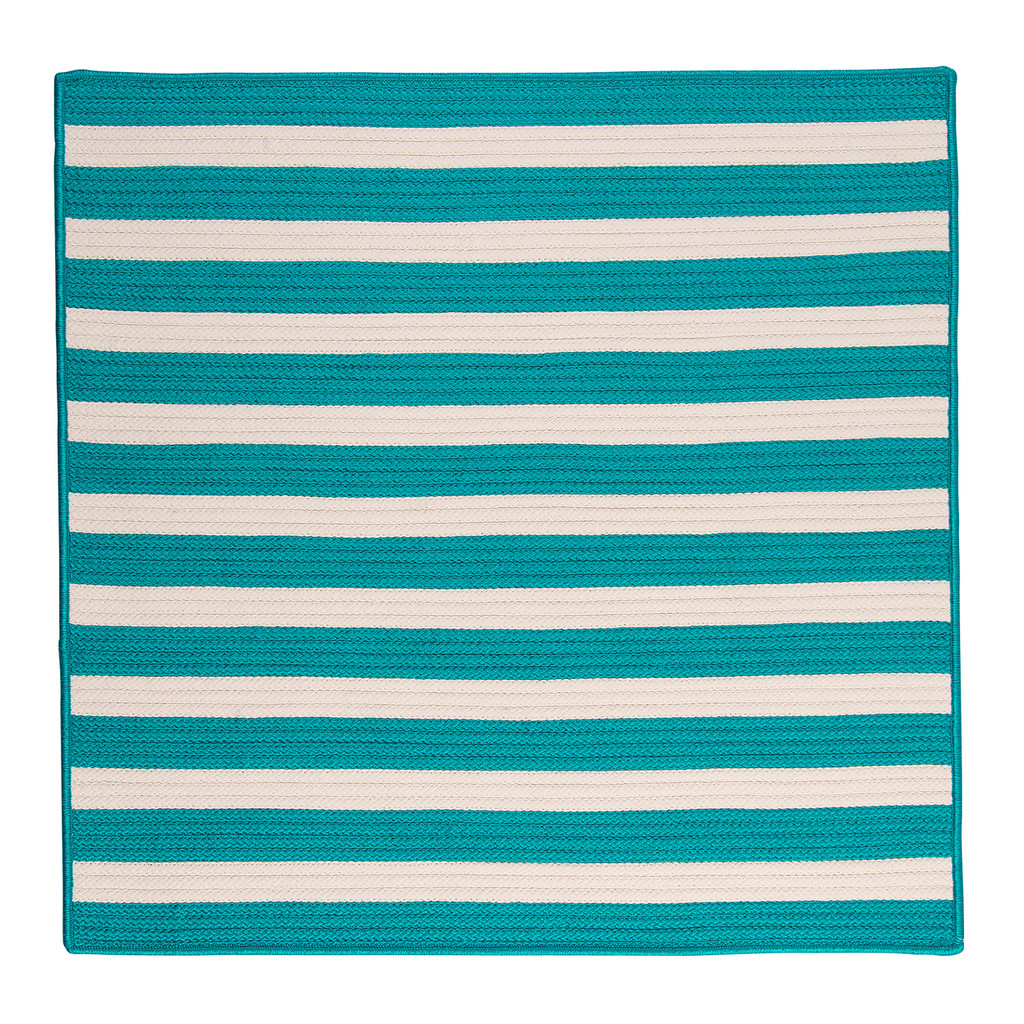 Turquoise Stripe It Rug square