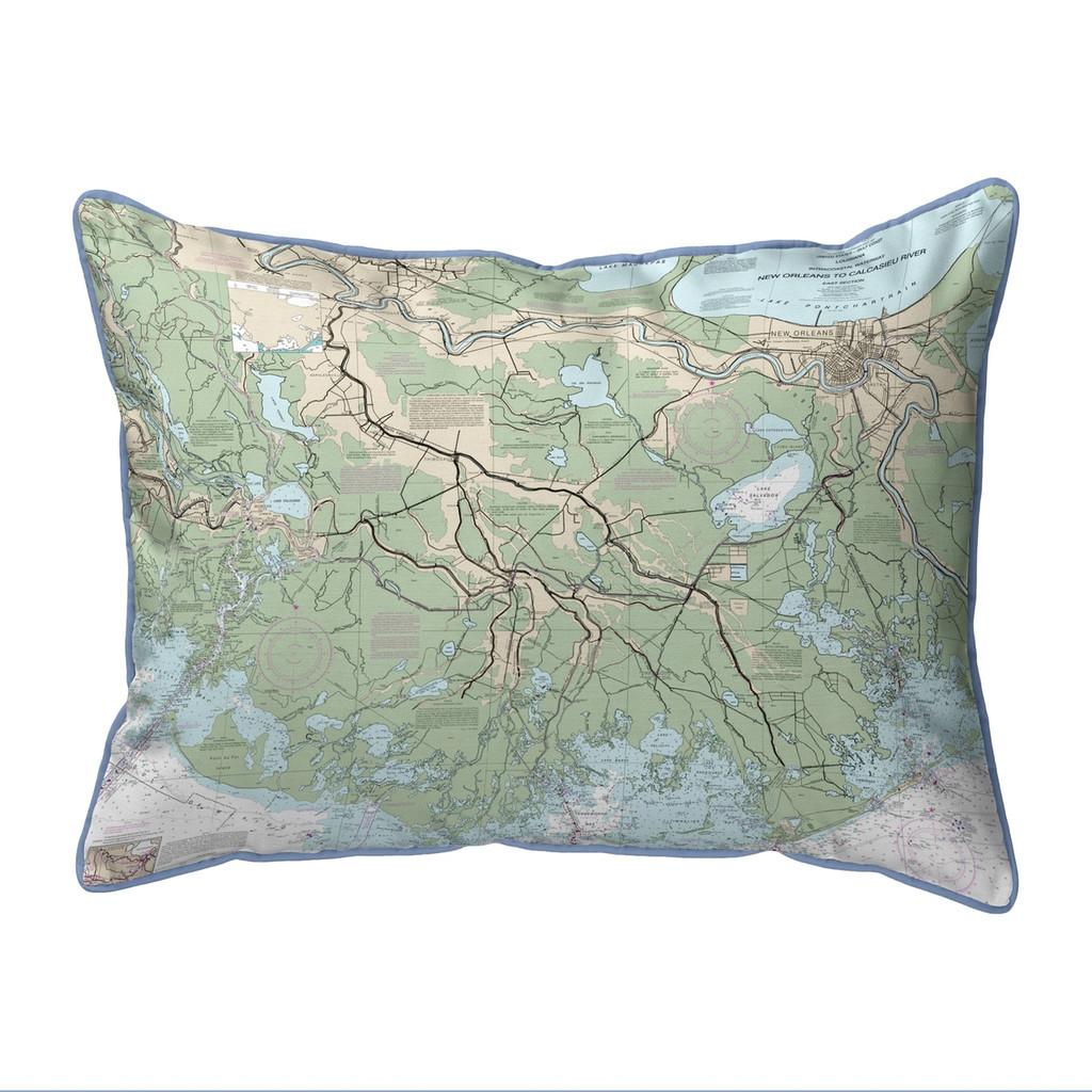 New Orleans to Calcasieu River, LA Nautical Map 20 x 24 Pillow