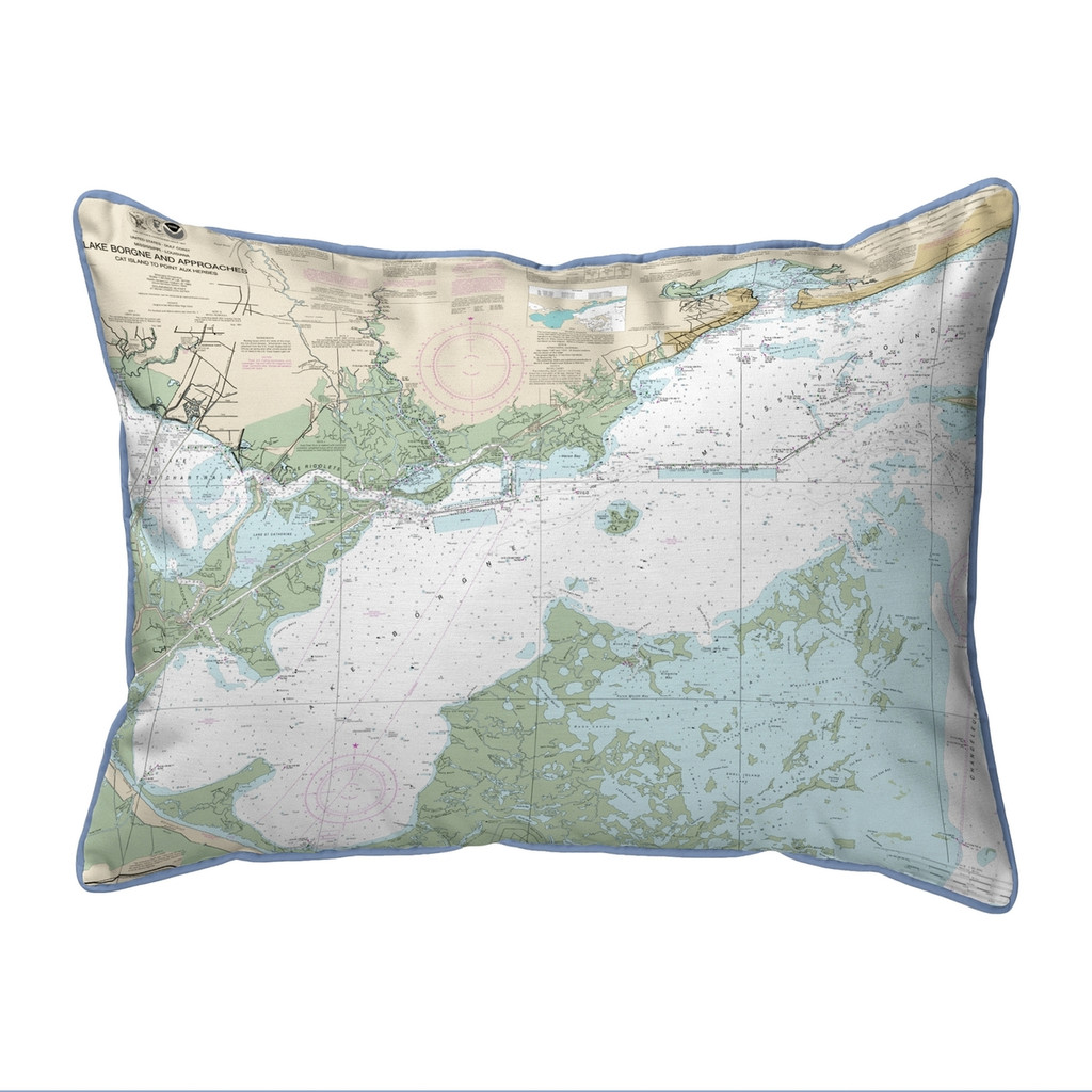 Lake Borgne and Approaches, LA Nautical Map 20 x 24 Pillow