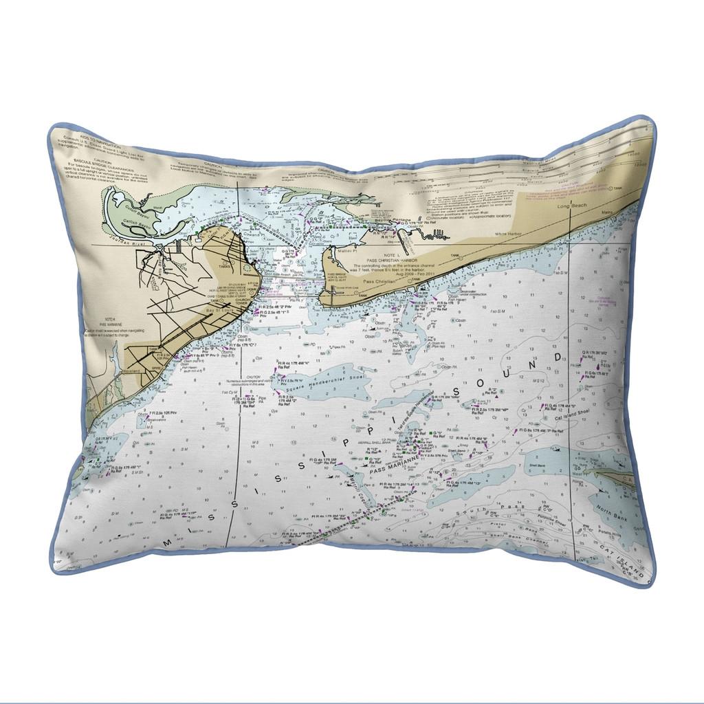 St Louis Bay, MS Nautical Map 20 x 24 Pillow