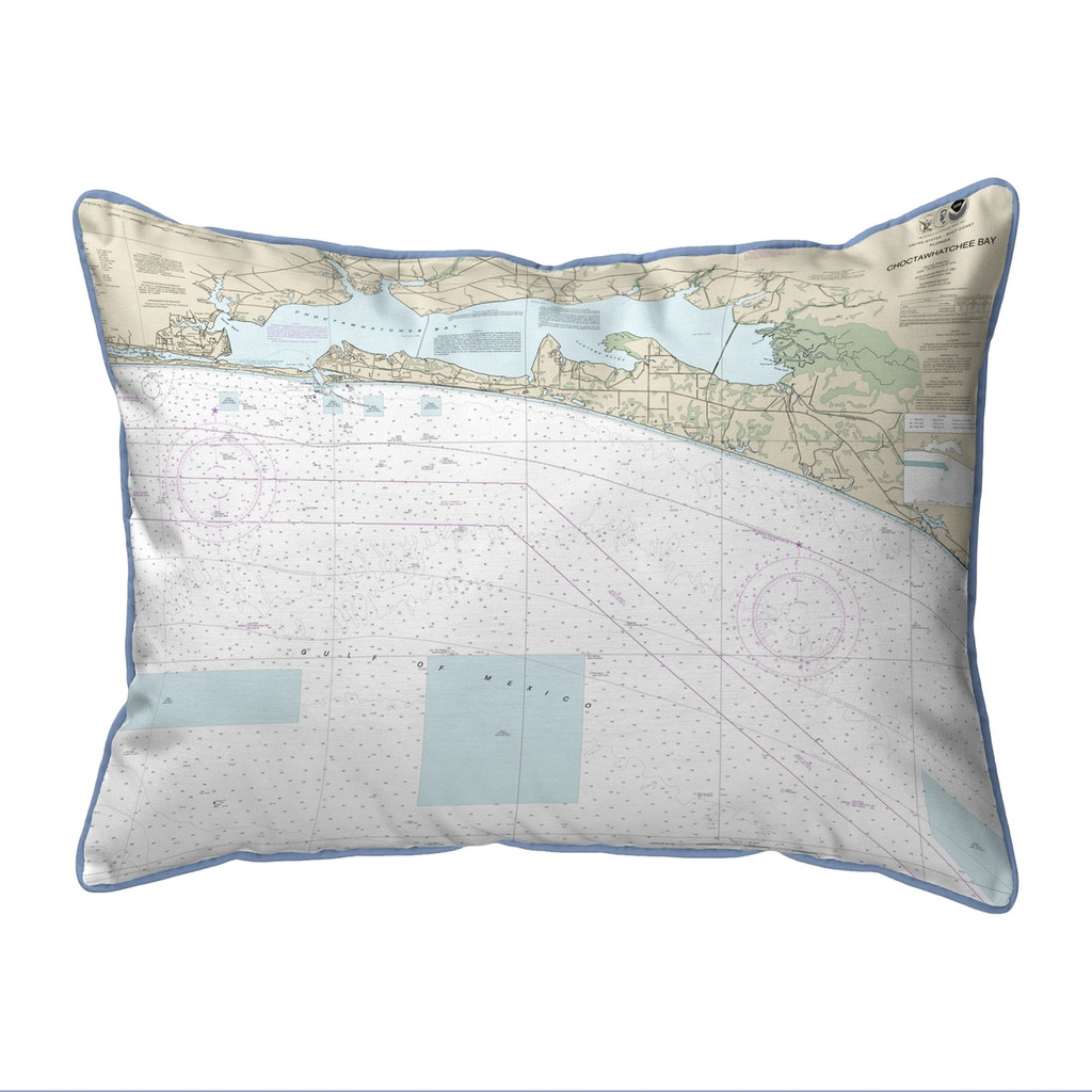 Choctawhatchee Bay Florida Nautical Chart 24 x 20 Pillow