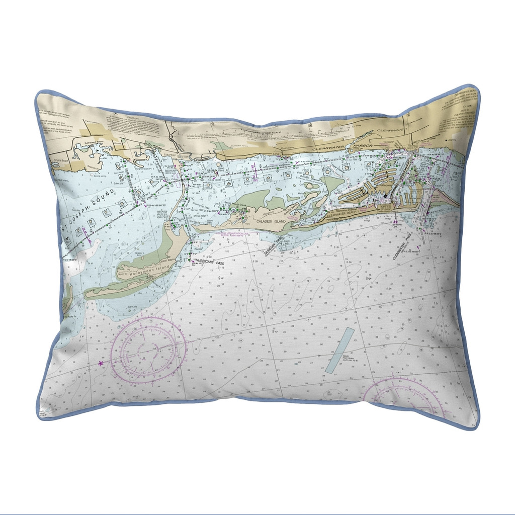Clearwater Harbor Florida Nautical Chart 24 x 20 Pillow
