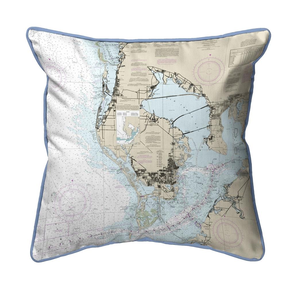 Tampa Bay Florida Nautical Chart 24 x 20 Pillow