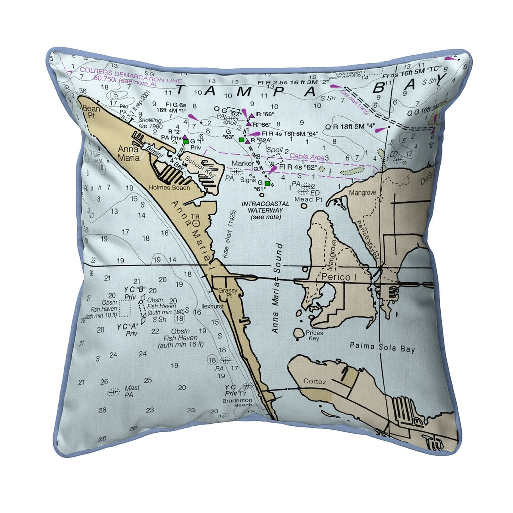 Anna Maria Island, Florida Nautical Chart 22 x 22 Pillow