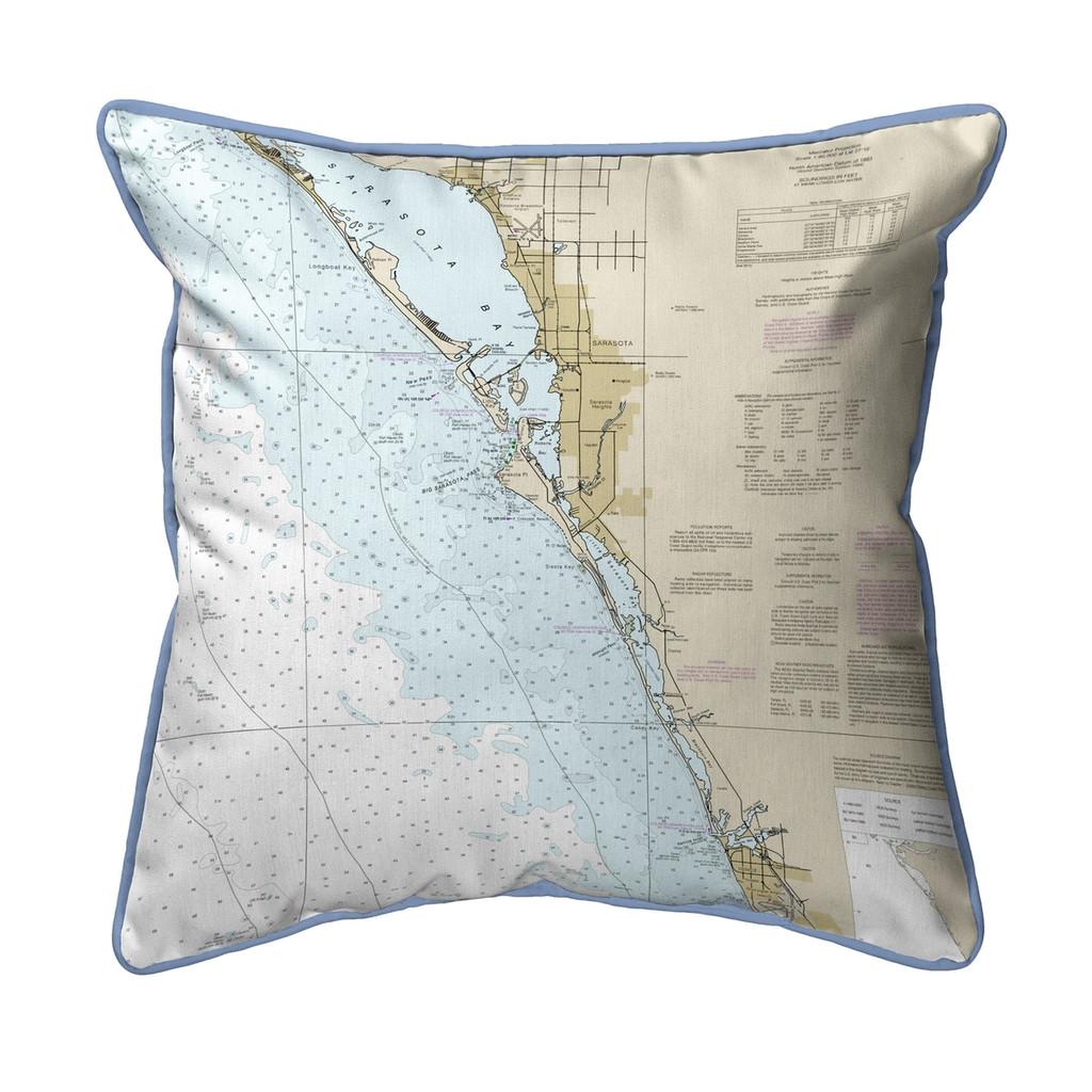 Venice, Florida Nautical Chart 22 x 22 Pillow