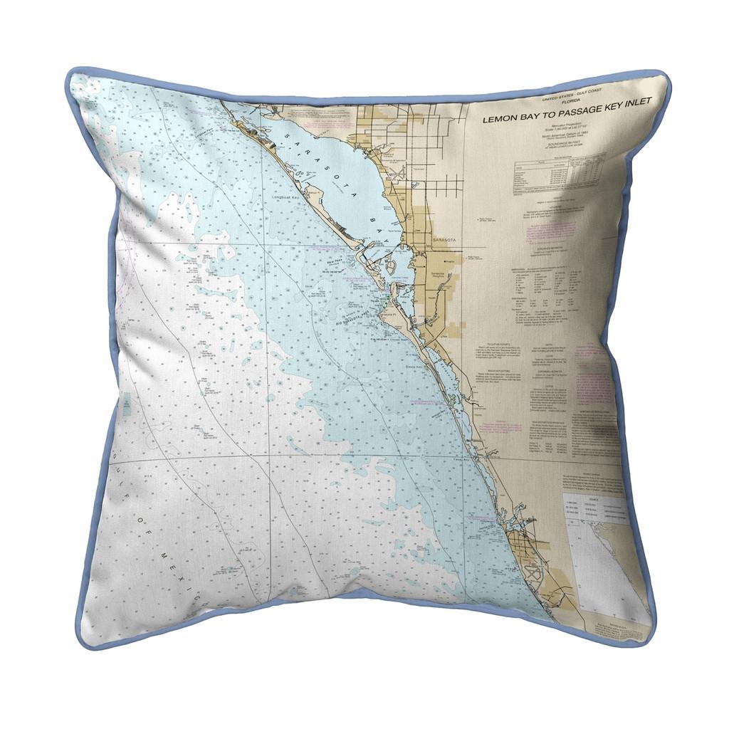 Venice - Lemon Bay to Passage Key Inlet, Florida Nautical Chart 22 x 22  Pillow