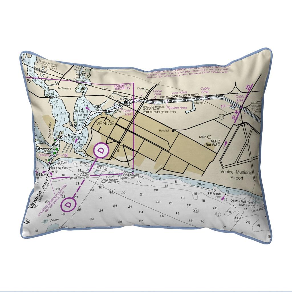 Venice Inlet Florida Nautical Chart 24 x 20 Pillow