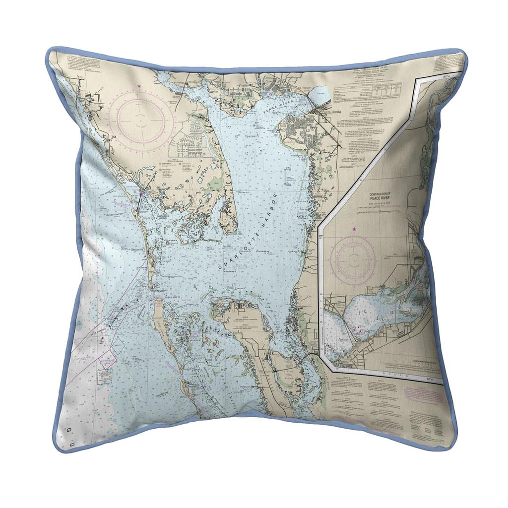 Charlotte Harbor Florida Nautical Chart 22 x 22 Pillow