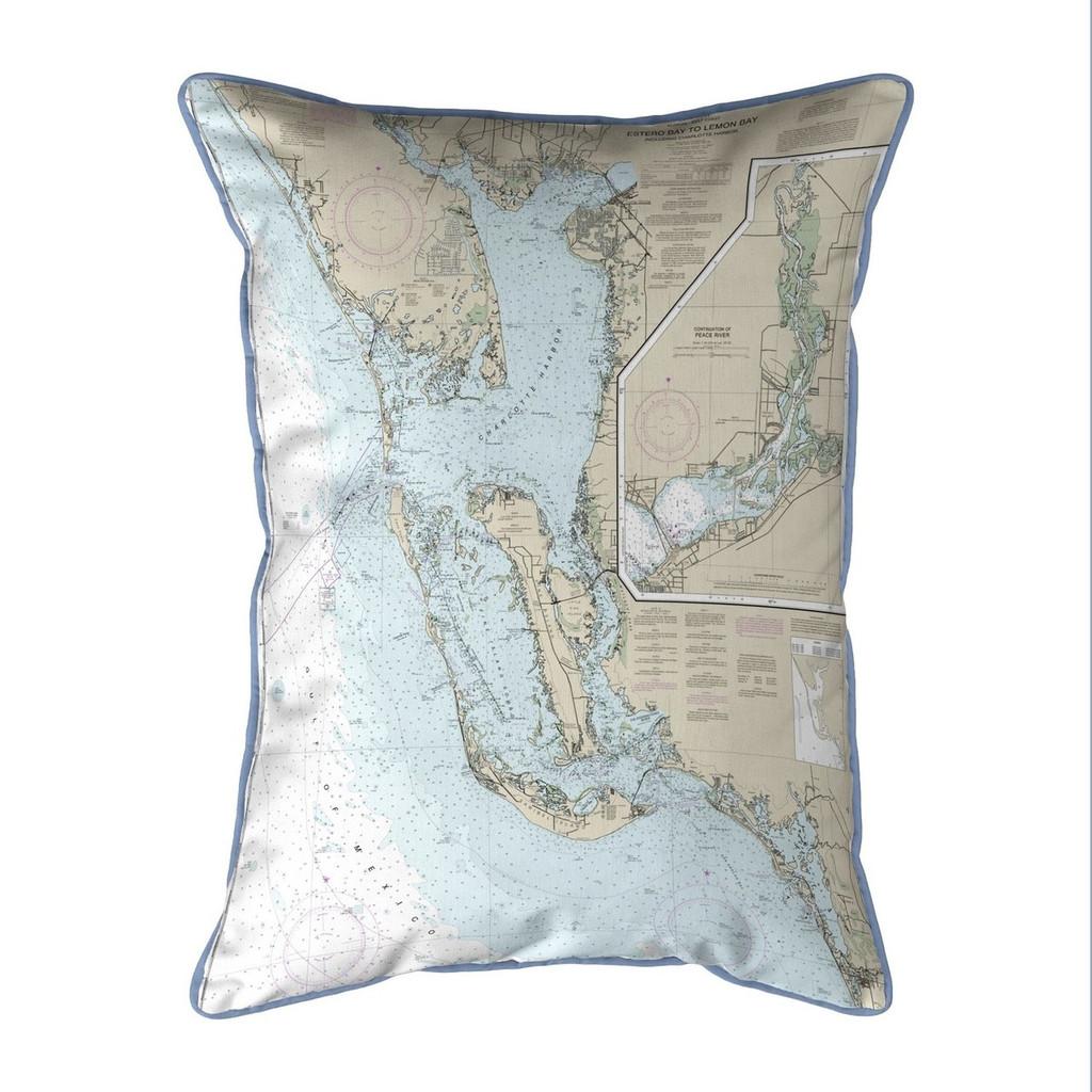 Estero Bay to Lemon Bay, FL Nautical Map Extra Large Zippered Indoor/Outdoor Pillow 20x24