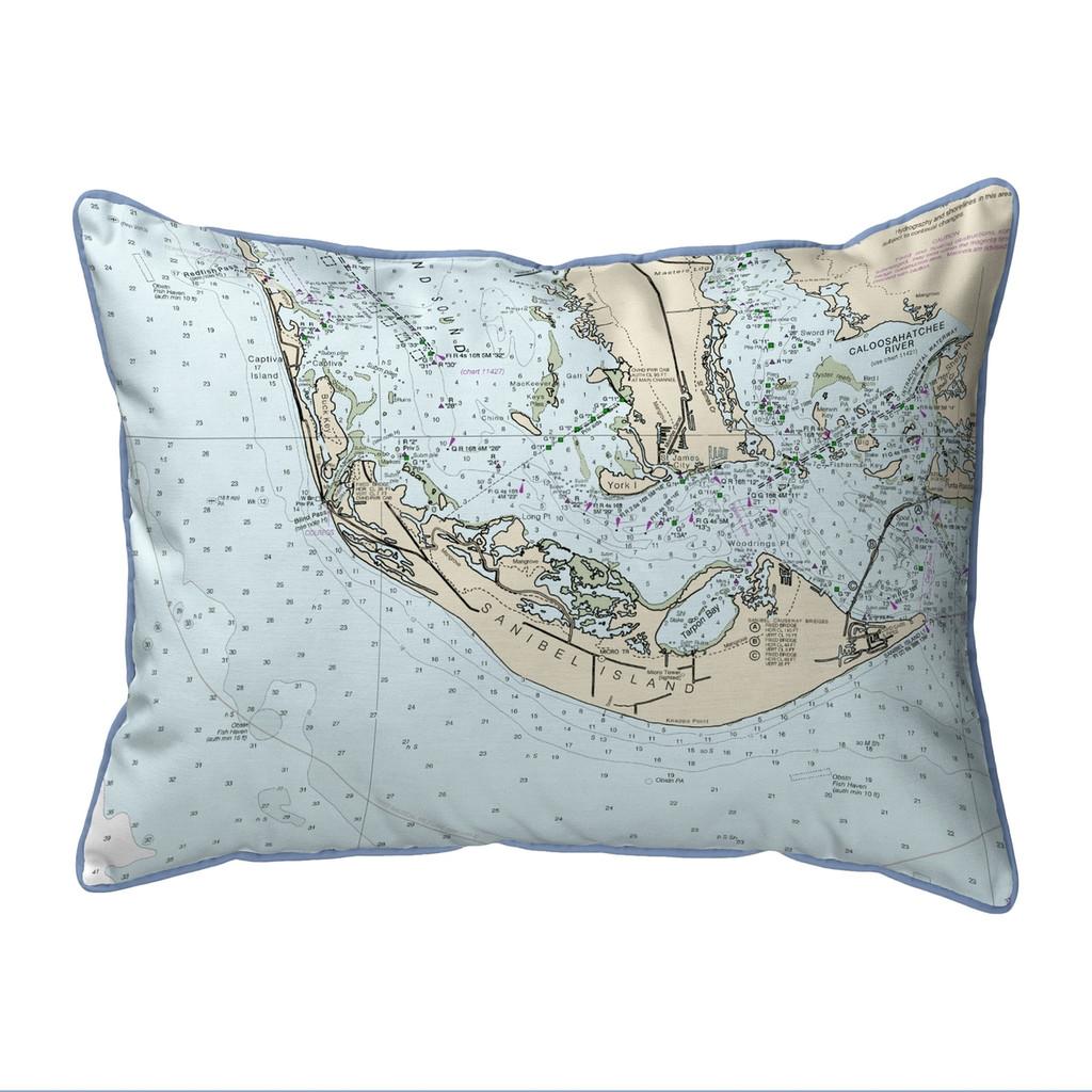 Sanibel Island, Florida Nautical Chart 24 x 20 Pillow