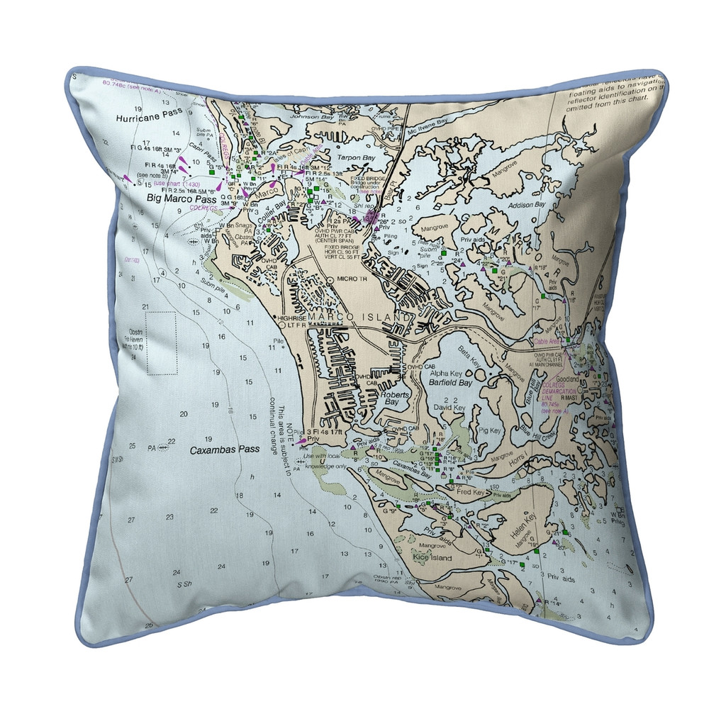 Marco Island, Florida Nautical Chart 22 x 22 Pillow