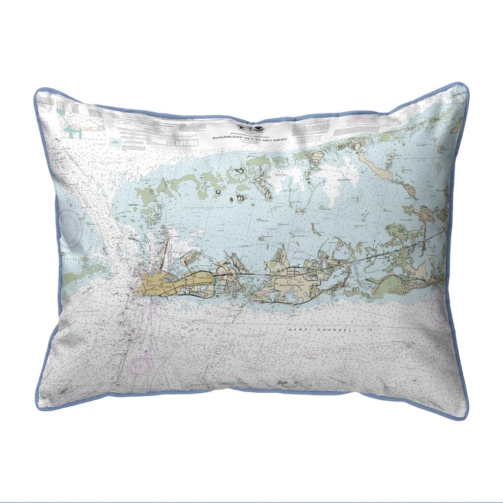 Sugarloaf Key to Key West, Florida Nautical Chart 24 x 20 Pillow