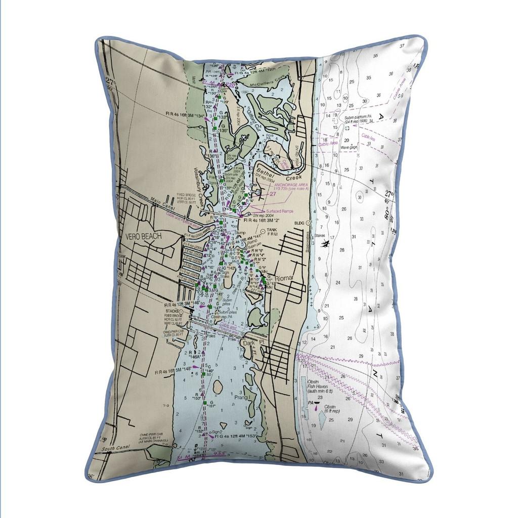 Vero Beach, Florida Nautical Chart 24 x 20 Pillow