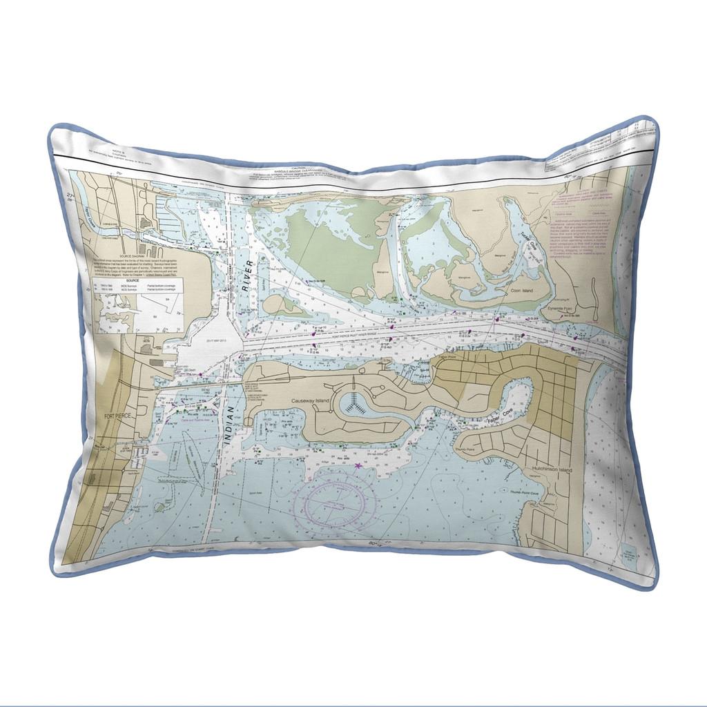 Fort Pierce Harbor Florida Nautical Chart 24 x 20 Pillow