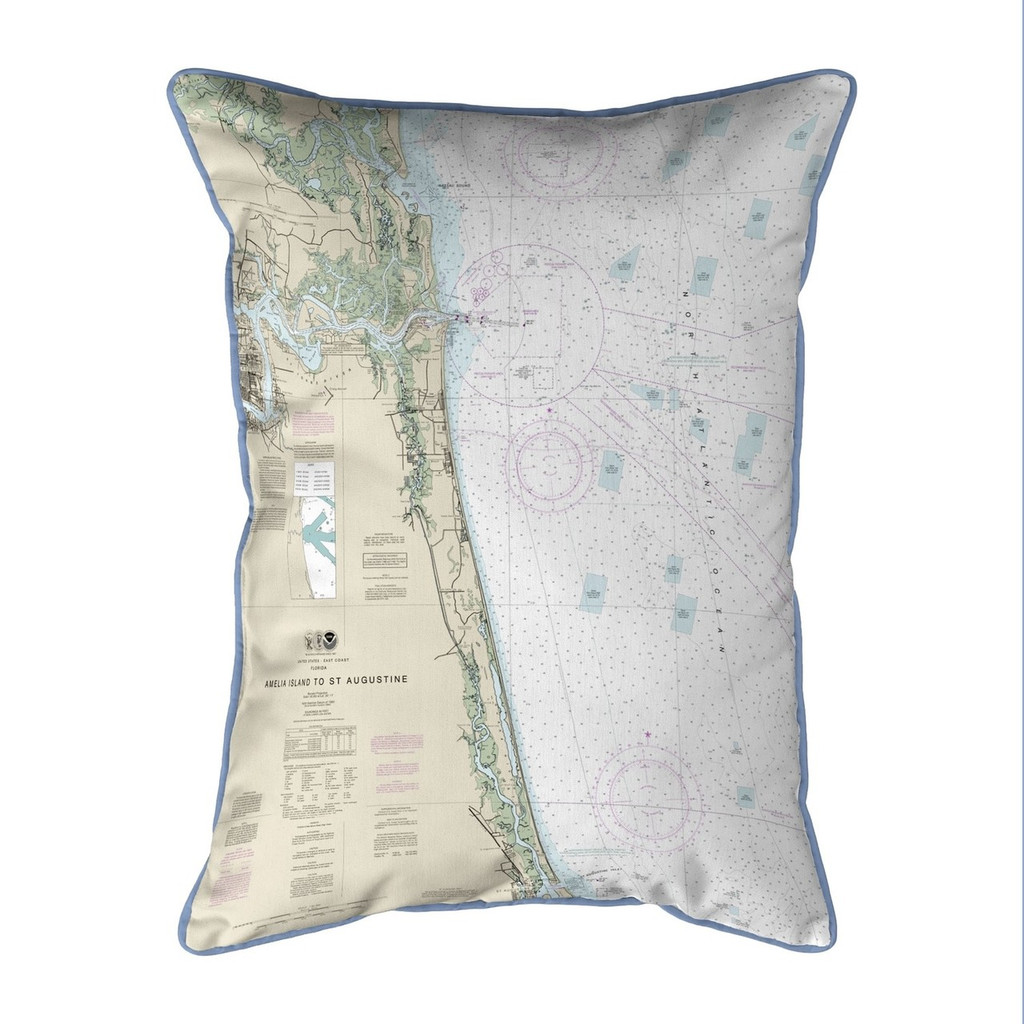 Amelia Island to Saint Augustine, Florida Nautical Chart 24 x 20 Pillow
