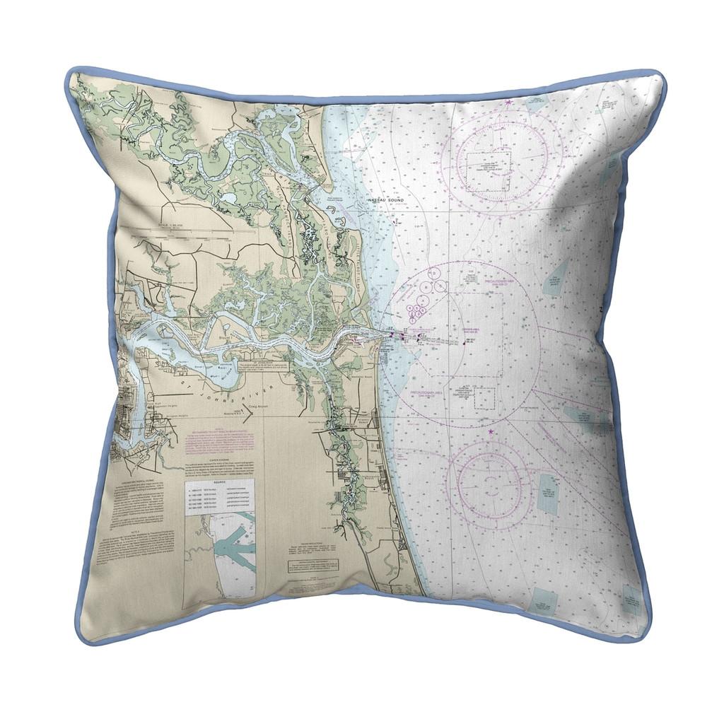 Jacksonville, Florida Nautical Chart 22 x 22 Pillow
