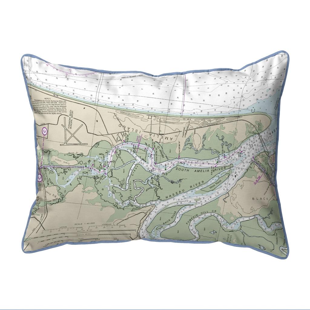 Amelia Island, Florida Nautical Chart 24 x 20 Pillow