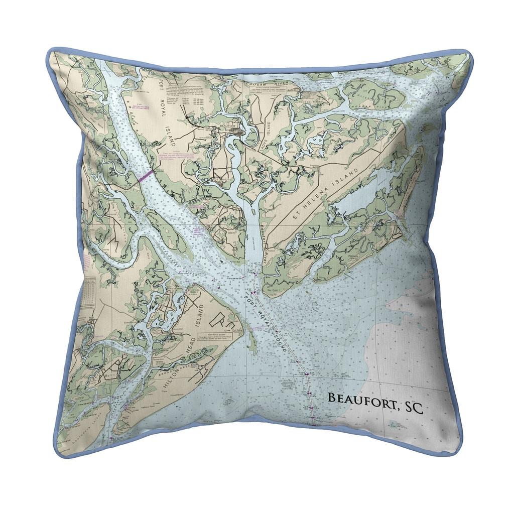 Beaufort, South Carolina Nautical Chart 22 x 22 Pillow