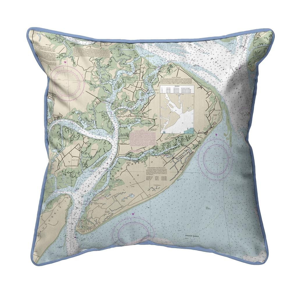 Hilton Head South Carolina Nautical Chart 22 x 22 Pillow