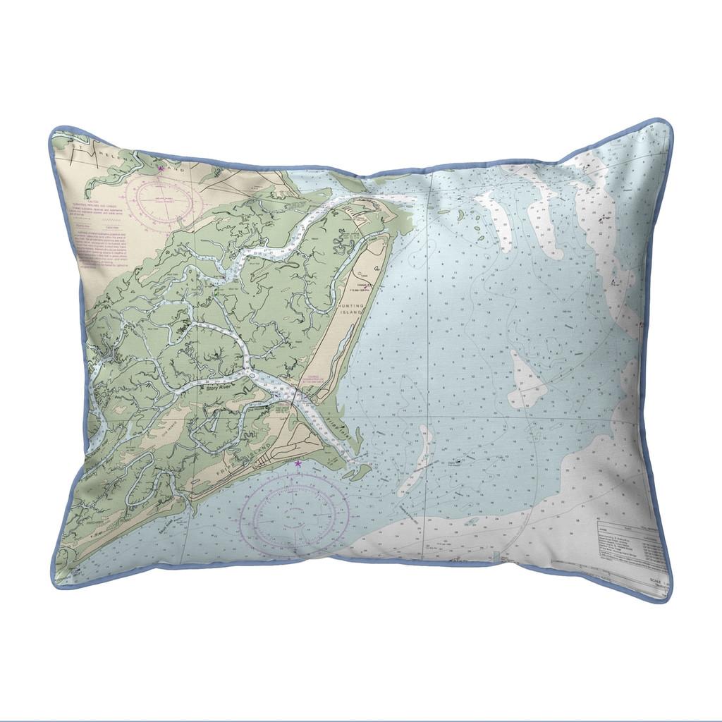 Fripp Island South Carolina Nautical Chart 24 x 20 Pillow