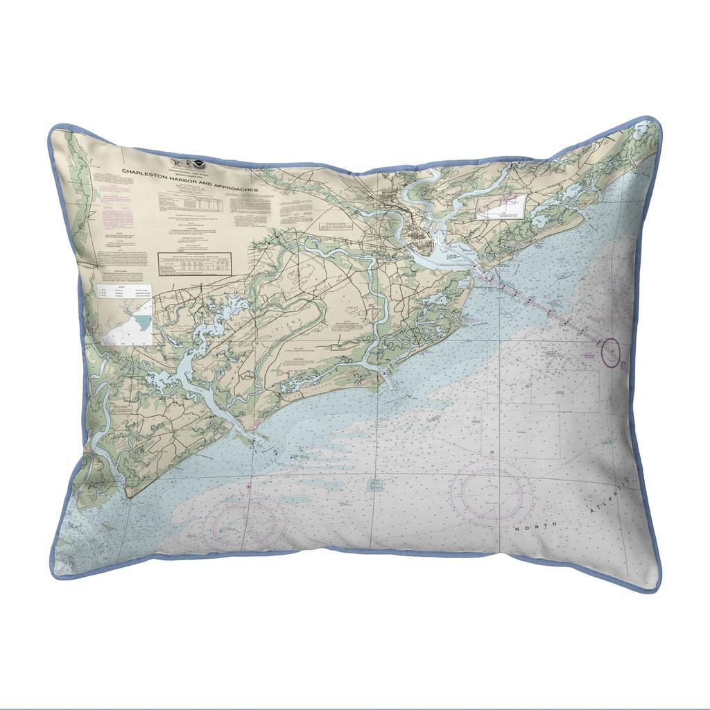 Charleston Harbor and Approaches South Carolina Nautical Chart 24 x 20 Pillow