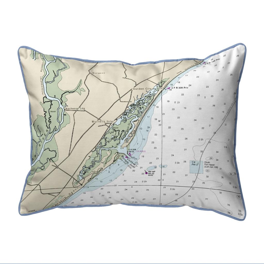 Murells Inlet South Carolina Nautical Chart 24 x 20 Pillow